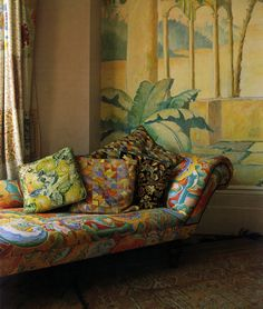 colorful fainting couch. Love the couch but, not the wall so much.