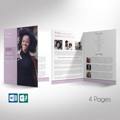 Purple Memorial Funeral Program Large Word Publisher Template, Bi-fold to is for a modern commemorative or home going service. Funeral Order Of Service, Print Templates, Design Templates, Memorial Cards, Thank You Card Template, Commercial Printing, Bi Fold Brochure, Program Template, Pastel Purple