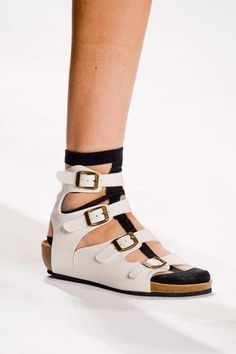 The 50 Best Shoes at NY Fashion Week | StyleCaster VIVIANNE TAM: Birkenstock-style sandals (a huge trend for this spring) made their way onto Vivienne Tam's Spring 2015 runway.    Read more: http://stylecaster.com/the-50-best-shoes-new-york-fashion-week-spring-2015/#ixzz3DAc4cO00