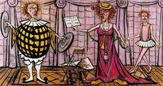 Bernard Buffet - LES CLOWNS MUSICIENS : La cantatrice - 1991, oil on canvas - 230 x 430 cm