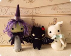 Halloween Witch, Bat and Ghost Ornament pdf Patterns - Instant Download