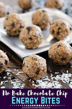 These delicious No Bake Chocolate Chip Energy Bites are loaded with chocolate chips, coconut, oats, flaxseed and chia seeds! They are the perfect healthy snack recipe! Pack some before you go on travel and you won't get hungry on the road! #energybites #t Healthy Travel Snacks, Easy Snacks, Healthy Foods To Eat, Healthy Treats, Lunch Snacks, School Snacks, Stay Healthy, Yummy Treats, Healthy Living