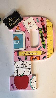 letter P hand drawn hand painted teacher's appreciation gift Teacher Letters, Teacher Canvas, Painting Teacher, Teacher Signs, Teacher Door Hangers, Letter Door Hangers, Teacher Doors, Painted Letters, Wooden Letters