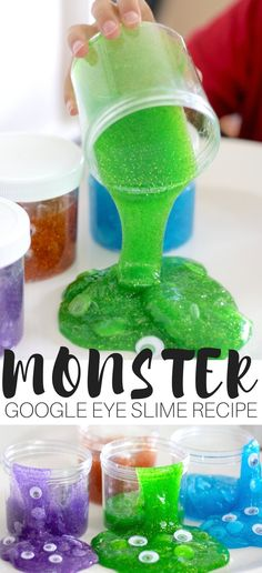 Easy to make homemade monster slime recipe for kids! Put together monster slime jars or monster slime party favors for kids this season. Makes a fun halloween slime idea too! DIY slime recipe with 3 ingredients. You add the color, glitter, and wiggly eyes for a cool slime activity that is science and sensory play in one!