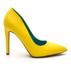 A-Game Pointy Faux Leather Pumps YELLOW ($16) ❤ liked on Polyvore featuring shoes, pumps, yellow, yellow pumps, faux leather shoes, vegan footwear, vegan shoes and pointed shoes