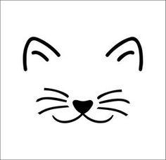 Cat Face Drawing, Cat Outline, Rock Crafts, Easy Drawings, Simple Animal Drawings, Mask Design, Rock Art, Cat Art, Painted Rocks