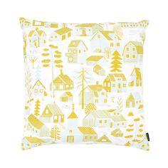 Pattern design by Björn Rune Lie. Yellow Cushion Covers, Yellow Cushions, Living Room Upgrades, Scandinavian Living, Printed Cushions, Light Turquoise, Silk Screen Printing, Nordic Design, Bristol