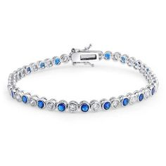Bling Jewelry CZ Round Blue Sapphire Color Tennis Bracelet 925... ($70) ❤ liked on Polyvore featuring jewelry, bracelets, blue, sterling silver chain bracelet, bridal bracelet, magnetic clasp bracelet, bracelet bangle and bridal jewelry