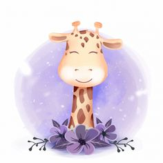 cute giraffe portrait smile with floral, Adorable, Animal, Art PNG and Vector Cute Animal Illustration, Cute Animal Drawings, Watercolor Illustration, Cute Drawings, Cute Giraffe Drawing, Photography Illustration, Scrapbooking Image, Baby Shower Background, Birthday Background