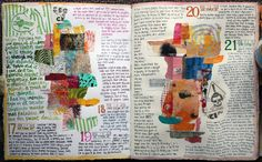 Judy Wise art journal pages - her daily journal with her handwritten notes around cut-out photos, paper scraps, and drawings.
