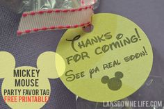 FREE printable: Mickey Mouse birthday party favor tags  at LansdowneLife.com