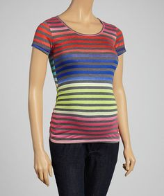 Look at this Mom & Co. Coral & Cobalt Stripe Ruched Maternity Crewneck Tee - Women on #zulily today!