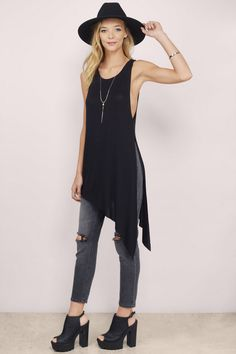 Conquer the day from all angles in the Angled Up Tunic Tank. This side-split tunic tank features an cool asymmetric hem that will add a little kick to any outfit. Style with leather pants or boyfriend jeans. . Get 50% off your order when you join Tobi.com