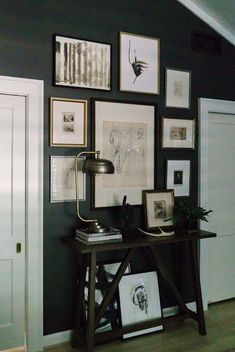 Neutral Gallery Wall On Black Wall   Design Indulgence: ONE ROOM CHALLENGE  FINAL REVEAL FALL