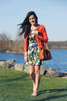Cardigan: Banana Republic. Flats: Kate Spade.  Bag:  Frank Clegg.  Necklace:  Pink Pineapple.  Dress:  Vintage.