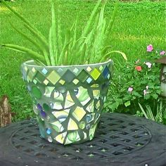 DIY mosaic garden pot
