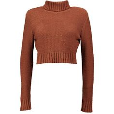 Boohoo Nicole Turtle Neck Crop Jumper ($26) ❤ liked on Polyvore featuring tops, sweaters, crewneck sweaters, chunky knit sweater, crochet crop top, brown sweater and turtle neck sweater