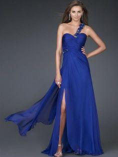 (NO.0245532 )2012 Style Sheath / Column One Shoulder Beading  Sleeveless Floor-length Chiffon Royal Blue Prom Dress / Evening Dress