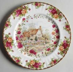 RP: Royal Albert Old Country Roses Cottage Plate Royal Albert, Vintage Plates, Vintage China, Vintage Teacups, Vintage Dishes, Rose Cottage, China Patterns, Shabby, Plates And Bowls