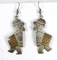 sterling silver Navajo Children with Drums Wire earrings