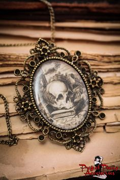 "The Poet Skull Cameo Necklace with Beautiful Antique Brass Frame on a 17"" Chain"