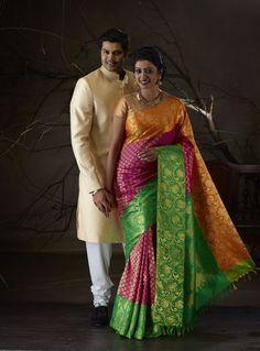 Ganesh Venkatraman and Nisha photoshoot for Pachaiyappa's Silks