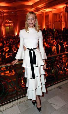 Cate Blanchett at The Academy Of Motion Pictures Arts & Sciences White Cutout Dress Formal Dress.prom dresses,formal dresses,ball gown,homecoming dresses,party dress,evening dresses,sequin dresses,cocktail dresses,graduation dresses,formal gowns,prom gown,evening gown