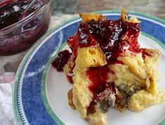 Vanilla Bread Pudding with Maple-Blackberry Sauce