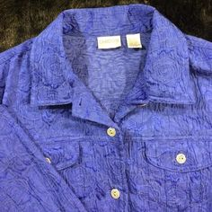 CHICOS SHIRT/JACKET Royal blue, embossed with navy design (seeing best in picture 4). Beautifully detailed buttons! Quality at its best! Looks great with black trousers, jeans, skirts... Feels fantastic! Very comfortable! Perfect condition! Chico's Tops Button Down Shirts