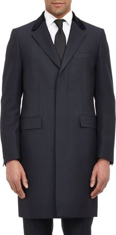 ab6215e4f22 Crombie Velvet-Collar Overcoat-Blue Crombie Coat