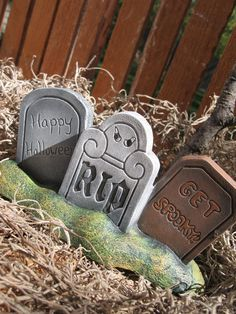 Ceramic Tombstone Trio Halloween Decor from by VintageVantageShop