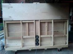 Resultado de imagen de DIY Panel Saw Plans Lumber Storage, Built In Storage, Woodworking Plans, Woodworking Projects, Diy Projects, Sawhorse Plans, Diy Slides, Wall Display Cabinet, Wine Rack Plans