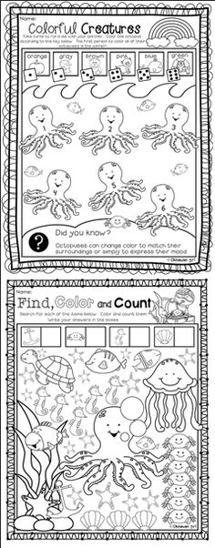 Ocean Math, Ocean Animals, Math Worksheets, Ocean Theme, or Ocean ...