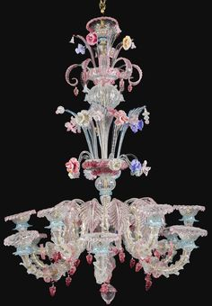 An Italian Murano glass twelve-lights chandelier century decorated overall with foliage and flowerheads; formerly fitted for electricity 190 Murano Chandelier, Antique Chandelier, Antique Lamps, Glass Chandelier, Chandelier Lighting, Chandeliers, Venetian Glass, Murano Glass, Beautiful Bouquet Of Flowers