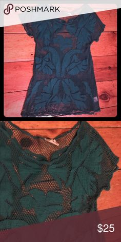 Urban sheer tunic/dress/coverup Never worn super awesome coverup or wear as a dress with a slip underneath. Cotton appliqué on mesh. Teal color Urban Outfitters Dresses Mini