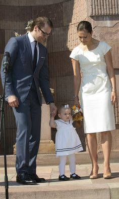 """6-6-13   Crown Princess Victoria, Prince Daniel and Princess Estelle  inaugurates the exhibition """"Open Palace"""" at the Royal Palace in Stockholm during celebration of the Swedish national day."""