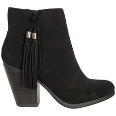 Stevie Fringe Ankle Boots (53 AUD) ❤ liked on Polyvore featuring shoes, boots, ankle booties, heels, zapatos, black suede boots, black suede booties, short black boots, fringe booties and heeled booties