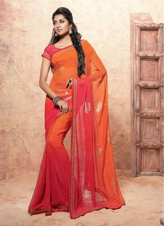 Divine Red and Orange Embroidered Designer Traditional Sarees
