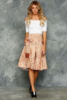 Marauders Map Yoke Midi Skirt ($109AUD) by BlackMilk Clothing