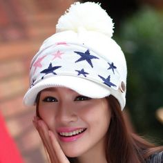 Fashionable Mask and Fuzzy Ball Embellished Solid Color Hat For Women, COLOR ASSORTED in Hats | DressLily.com