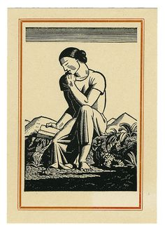 Rockwell Kent, book plate, woodcut
