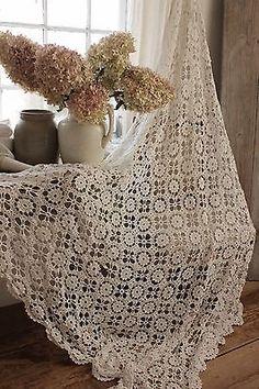 Vintage Francés 78x73 Crochet textiles encaje hecho a mano textil cubierta de cama blanco