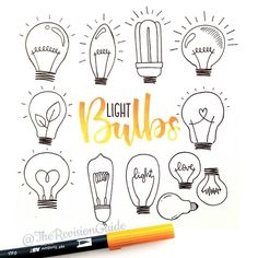 Light bulbs as filler doodles. Week 23 of the 52 week visual vocabulary challenge is all about filler doodles. That's any kind of doodle… Doodle Drawings, Doodle Art, How To Doodle, Doodle Images, Doodle Quotes, Bujo Doodles, Note Doodles, Planner Doodles, Easy Doodles