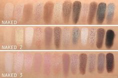 Naked Pallettes 1, 2, and 3 swatches. Just saw Naked 3 in the store and the pink tones are amazing!! I want.
