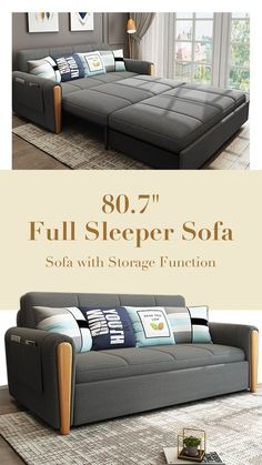 Full Sleeper Sofa, Wood Handrail, Have A Good Sleep, Living Spaces, Living Room, Upholstered Sofa, Cotton Linen, Bungalow, Convertible