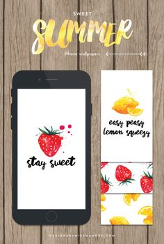 Sweet Summer iPhone Wallpapers - Designs By Miss Mandee. Strawberry and lemon patterns. Give your phone a summer makeover with these cool designs!