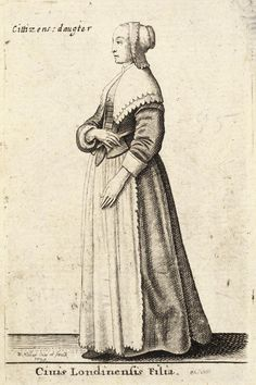 Also from Theatrium Mulierum 1643 by Hollar, this is a younger girl also dressed in good quality simply cut clothes. A linen coif edged with lace and folded back to show a fringe of hair on her hea…