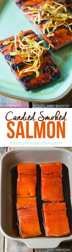 Love this Easy Candied Smoked Salmon Recipe with Flash Fried Ginger on ASpicyPerspective.com #salmon