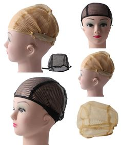 [Visit to Buy] Hot High Quality Black Beige Nylon Net Wig Cap For Making Wigs with Adjustable stretch net Strap on Back Wig Cap for Lace Wigs #Advertisement