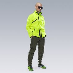 The sub loosely defines techwear as clothing and accessories with some combination of urban functionality, technical materials, utility, and an. Rain Jacket, Bomber Jacket, Neon Outfits, Asian Street Style, Outdoor Apparel, School Fashion, Athletic Wear, Neon Green, Fashion Shoes